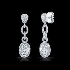 Oval Cut Diamond Drop Earrings With Kite Shape Diamonds By Norman Silverman