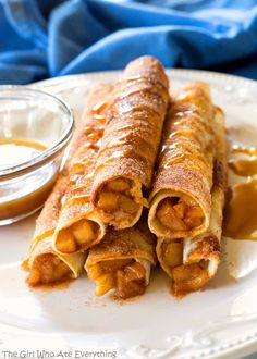 Share Tweet Pin Mail These Creamy Caramel Apple Taquitos are filled with cinnamon apples, caramel, and cream cheese, rolled in cinnamon sugar and drizzled ...