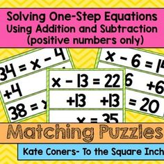 Solving One-Step Equations using Addition and... by To the Square Inch- Kate Bing Coners | Teachers Pay Teachers