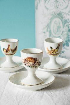 Rooster egg cups  vintage french egg cups