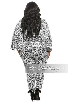 New Plus Size Jumpsuit with Attached Cape and V Neck in Black and White Print