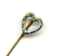 Victorian 14k Yellow Gold Ornate Light Blue Enamel Heart Stick Pin SIGNED .8Gr #Unidentified