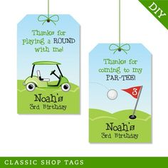 Golf party Personalized DIY printable favor tags by Chickabug