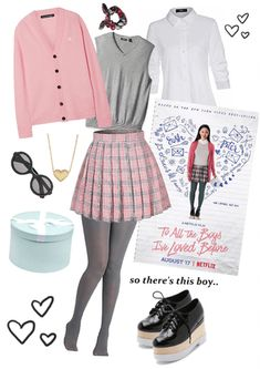 Check out this cute Lara Jean look 💁🏻‍♀️ 💗 Tv Show Outfits, Fandom Outfits, Teen Fashion Outfits, Jean Outfits, Stylish Outfits, Girl Outfits, Nerd Fashion, Punk Fashion, Lolita Fashion