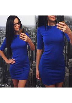 New Women Blue Plain Round Neck Elbow Sleeve Mini Dress