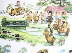 Lovely Thelwell Vintage Wallpaper  English Equestrian Theme  by midwickhill