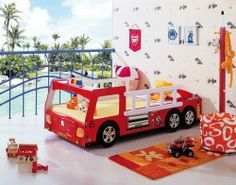 A car bed is an awesome addition to any kids room. We've gathered here the coolest examples including racing cars, police cars, firetrucks, pickups and so on. Cool Boys Room, Cool Beds For Kids, Cool Bedrooms For Boys, Boy Room, Kids Bedroom, Bedroom Ideas, Boys Room Design, Nursery Design, Bed Design