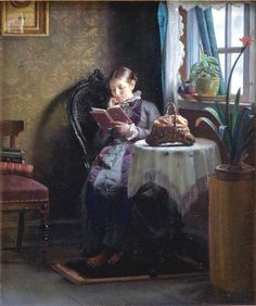 Anna Ancher - Young Girl in Front of Mirror
