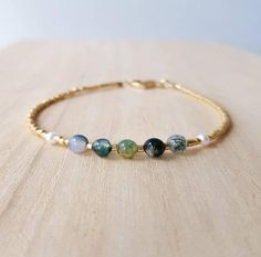 Seed Bead Bracelets, Gemstone Bracelets, Handmade Bracelets, Agate Gemstone, Agate Beads, Aquamarine Gemstone, Amethyst Bracelet, Green Gemstones, Moss Agate