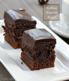 Kahlua Brownie Kisses ... Fugdy and topped with an amazing Kahlua laced chocolate ganache.  AND??  and iPad Mini Giveaway! #chocolate #giveaway @livlifetoo #kahlua