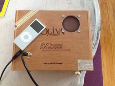 Really cool iPod player/speaker made from a cigar box.  I want one!