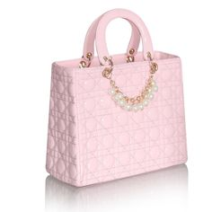 Classic Women's Pearl & Chain embellished Patent Leather Satchel Handbag.  Pink.