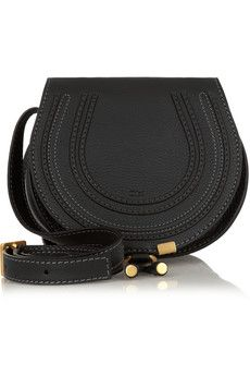 Minimal and Classic Style  // Chloé The Marcie mini textured-leather shoulder bag in black | NET-A-PORTER