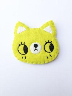 Hipster Cat- Cat Brooch-Animal Brooch-Felt Cat-Lime Green Cat Brooch