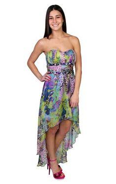 animal print jeweled chiffon high low prom dress