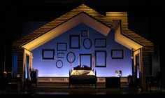"""""""I Do! I Do!"""" Set design for theatre, inspiration for """"consumer theatre"""". I just thought about using a frame idea similar to this for Mame. Design Set, Stage Set Design, Set Design Theatre, Set Theatre, Fake Walls, Scenography Theatre, Hanging Frames, Scenic Design, Stage Lighting"""