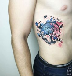Watercolor Tree Tattoo