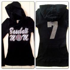 Sequin Rhinestone Baseball Mom Hoodie Sweatshirt with Custom Personalized Number on Etsy, $39.99