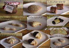 Bratapfel-Marmelade (mit etwas viel Rum), Mandeltaler, Lebkuchenwürfel, Sahneschleifen, Butterhörnchen, Nussstangen, Orangenbäumchen, Zimtschnecken, Quark-Stollen, Bärentatzen und Lebkuchenplätzchen