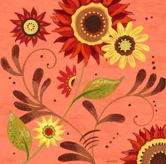 """""""Coral Sunflower"""" By Jennifer Brinley."""