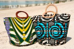 www.cewax.fr aime ces cabas en tissu wax africain et cuir style ethnique tendance afro tribale ♥African Print In Fashion