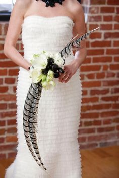 Yes! Feather Wedding Bouquet with large Pheasant Feathers, Sweet Violet Bride.