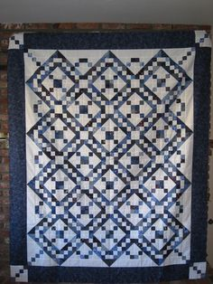 Scrappy Blue and White Jacob's Ladder (from thequiltshow.com)