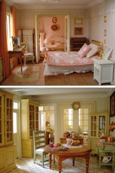 Lovely dollhouse miniature bedroom and dining room Vitrine Miniature, Miniature Rooms, Miniature Houses, Miniature Furniture, Dollhouse Furniture, Mini Doll House, Victorian Dolls, Shabby, Barbie Furniture