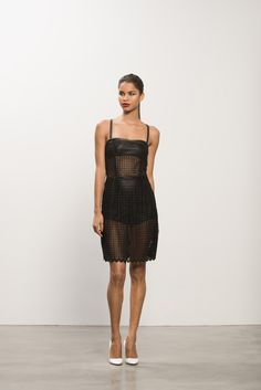 Guipure Lace Dress, Leather Bandeau, Heaven Pump #leather #lace #patentleather
