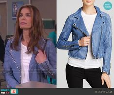 Hope's blue leather jacket on Days of our Lives.  Outfit Details: http://wornontv.net/51479/ #DaysofourLives