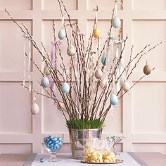 In Germany and Austria, it's customary to celebrate Easter by hanging hollow eggs from the branches of trees. This year, bring the tradition indoors by creating a unique display for your blown and decorated eggs.
