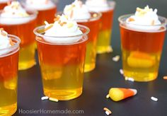 Whether you make them with or without alcohol, these candy corn jello shots are guaranteed to be the talk of your Halloween party.
