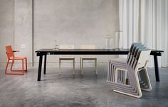 Vivi 2 by Blå Station - Architecture in a chair Dining Bench, Dining Chairs, Commercial Furniture, Stackable Chairs, New Furniture, Interior Design, Architecture, Wood, Home Decor