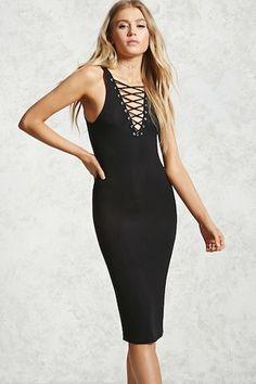 Ribbed Lace-Up Midi Dress