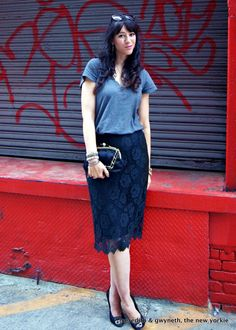 Sweet Meets Street – 2 Ways to Update a Lace Skirt Navy Lace, 2 Way, Yorkie, Lace Skirt, Halloween Costumes, Dressing, October 15, Street Style, Tees