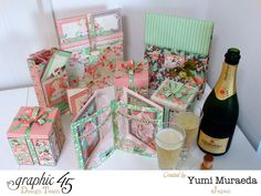 Learn how to make the beautiful gift boxes included in this stunning set by Yumi! #graphic45 #G45GiftHowTos