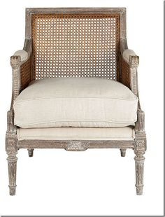 wisteria cane chair with gray chalk wash and golden cane seating