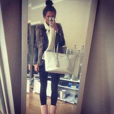 Fashion Style Inspiration #Outfit #pants black #jacket fur