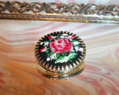 Vintage Petit Point Brooch Pink Red Roses on Black - New Old Stock, by GreenDoorSalvers, $10.00