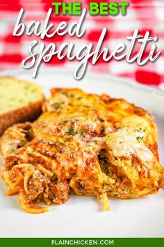 The Best Baked Spaghetti - easy Baked Spaghetti With Ricotta, Baked Spagetti, Baked Spaghetti Casserole, Baked Spaghetti In Crockpot, Spaghetti Recipes, Spaghetti Sauce, Sausage Spaghetti, Plain Chicken Recipe, Chicken Recipes