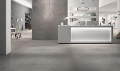 Carrelage en grès cérame pleine masse de coloris gris ciment aspect béton/pierre Stone Project Colombino.