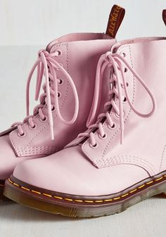 March Through Manhattan Boot in Pink by Dr. Martens for Modcloth. Made in Rose Pink Shoes. Dr. Martens, Pink Love, Pretty In Pink, Pale Pink, Couleur Rose Pastel, Rosa Style, Mode Kawaii, Fashion Shoes, Ankle Boots