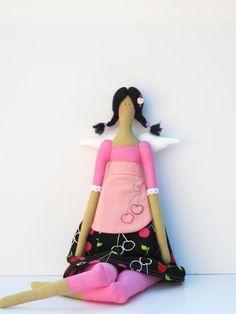 Handmade lovely fabric doll in sweet cherry dress,angel doll cloth doll Tilda style- brunette,stuffed doll.Gift for idea girl,gift for mom. $38.00, via Etsy.