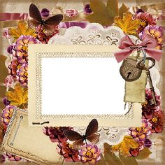 frames and borders - rectangular frame with flowers and butterflies