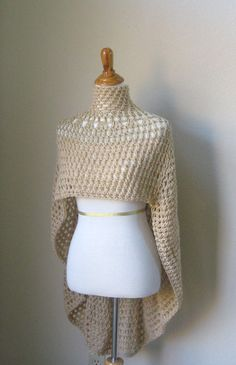 BEIGE BOHO PONCHO Chic Crochet Poncho Capelet Knit by marianavail