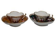 Hand-painted Dresden Demitasse Augustine Rex-Style Cups & Saucers from Germany