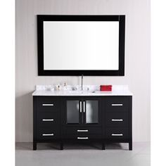 @Overstock - Add this beautiful to your bathroom remodel for an updated modern look. The vanity set has a dark espresso finish with satin nickle hardware and a matching framed mirror.http://www.overstock.com/Home-Garden/Design-Element-Stanton-Single-Sink-Carrara-White-Marble-Top-Bathroom-Vanity-Set/6713945/product.html?CID=214117 $1,563.99