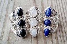 Silver statement Ring with natural moonstone, lapis lazuli, black onyx. Boho Ring- Silver Chunky Ring - Gypsy Ring  Tribal Ring - Tibetan Ring