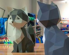 View Cat & Dog by WonderMingStudio on Etsy Jar Crafts, Diy And Crafts, Origami Cat, Cat Mask, Cat Statue, Cat Party, Disney Crafts, Paper Models, Low Poly