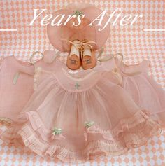 """Vintage Effanbee PATSY LOU Doll Clothes Dress PINK Organdy Four Piece Outfit Oil Cloth SHOES 22"""" Dolls!"""